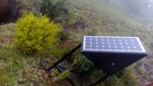 The solar panel placed near the choza
